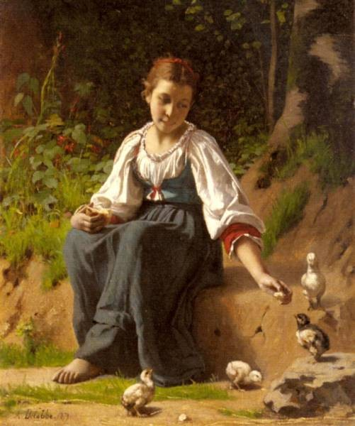 A Young Girl Feeding Baby Chicks